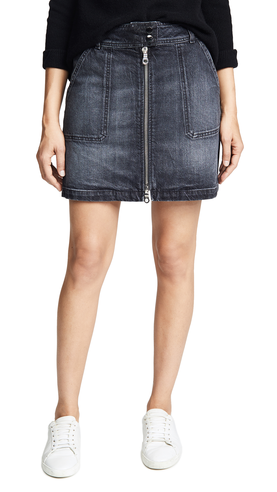 ei8htdreams Zip Front A-Line Denim Skirt In Black