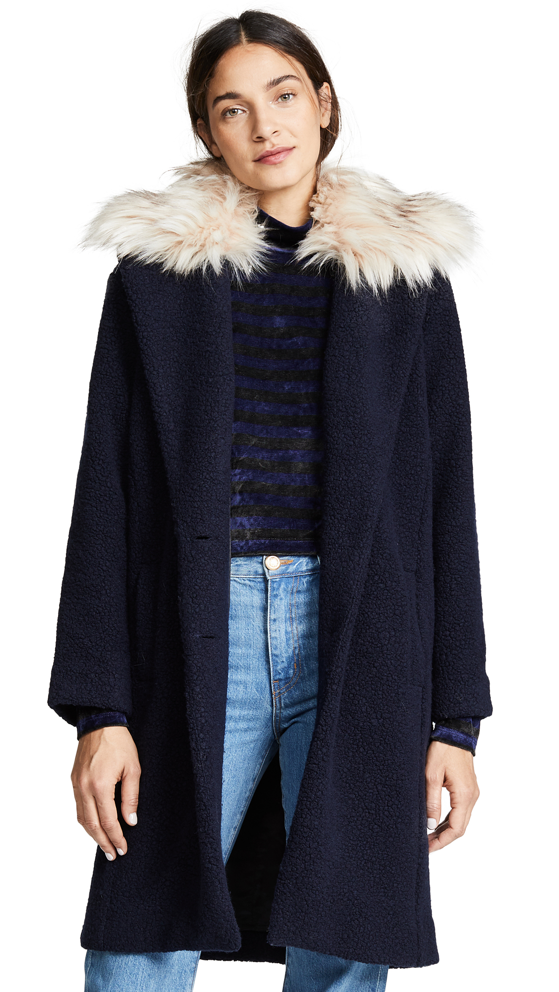 ei8htdreams Nubby Wool Oversized Coat with Detachable Collar In Midnight Blue