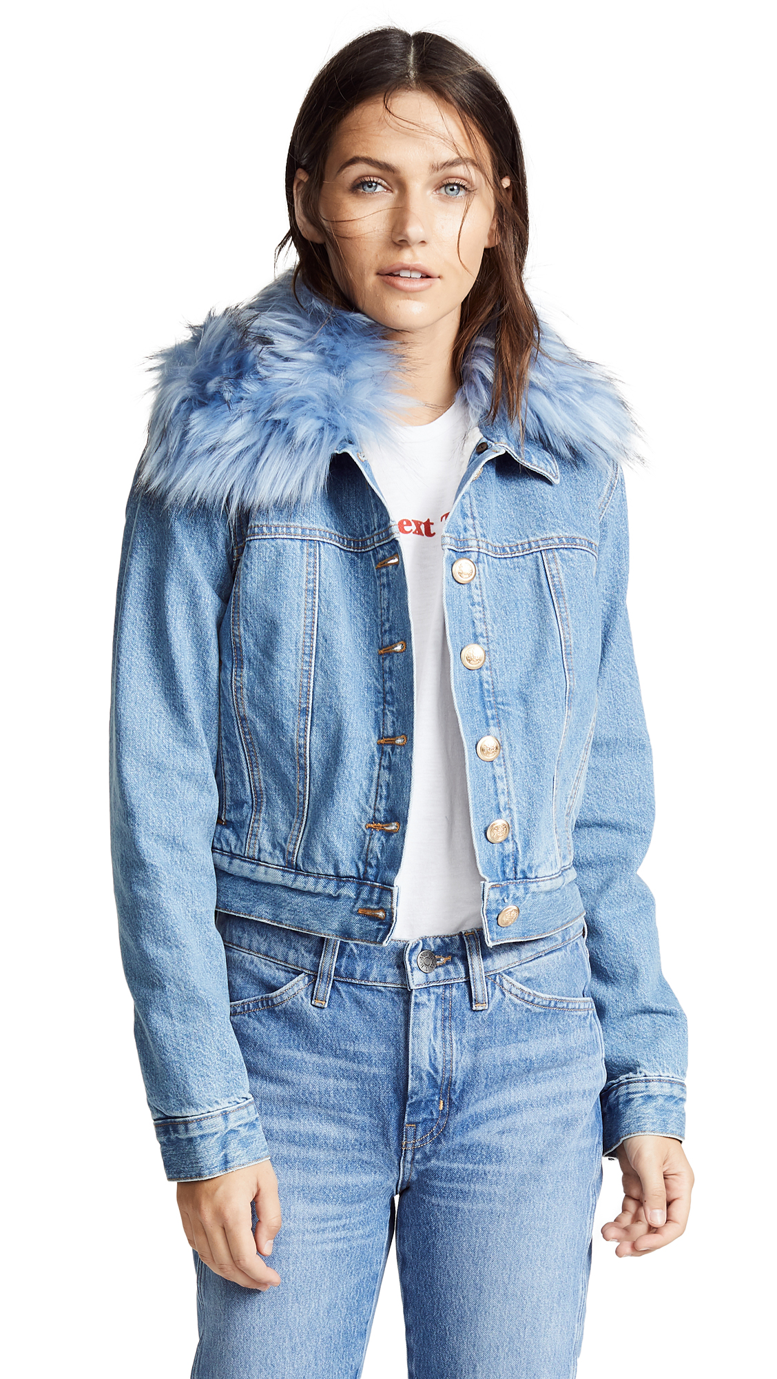 ei8htdreams Shearling Lined Cropped Denim Jacket with Removable Collar In Light Wash
