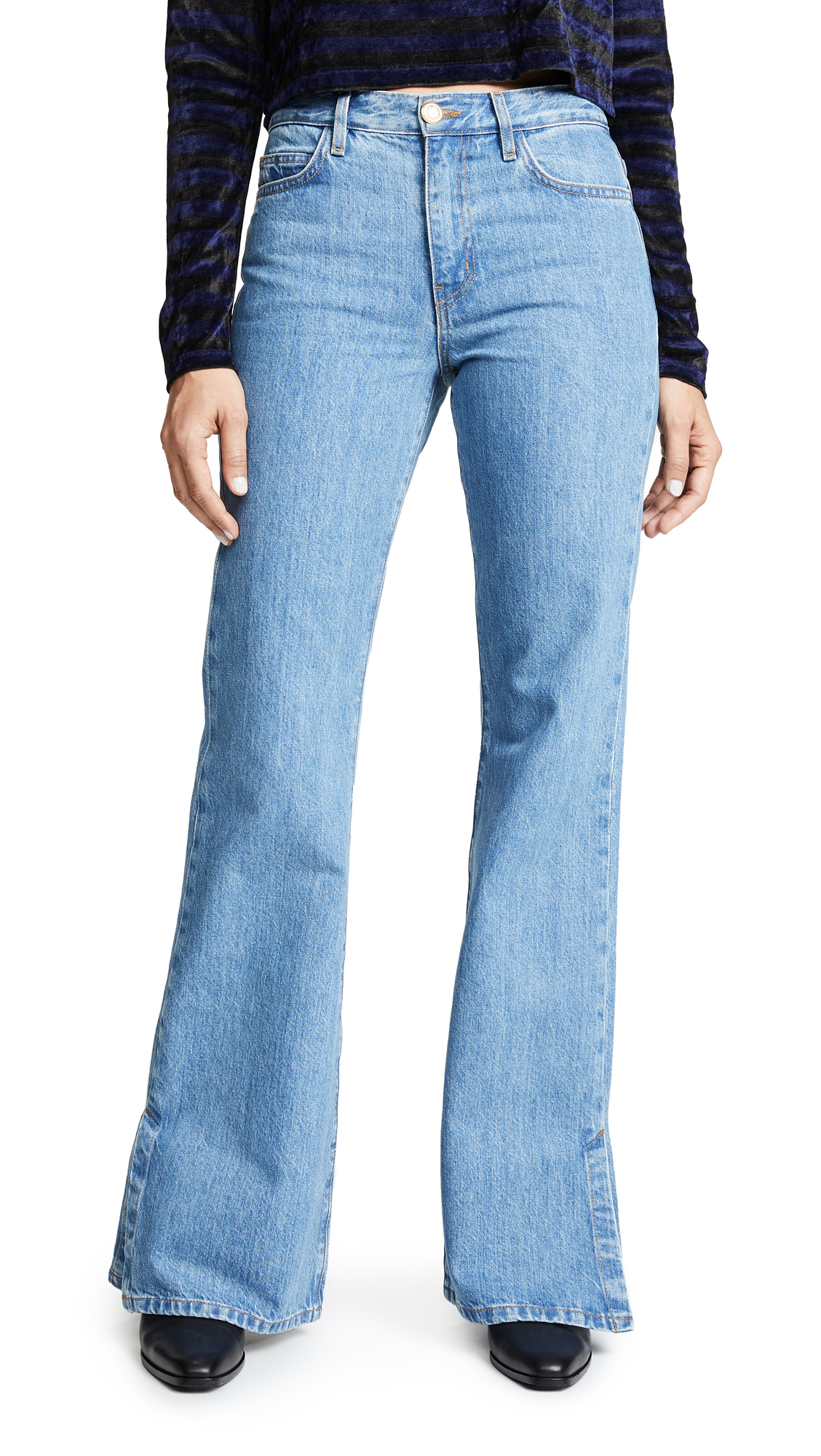 ei8htdreams Highrise Wide Flare Jeans with Slit In Light Wash