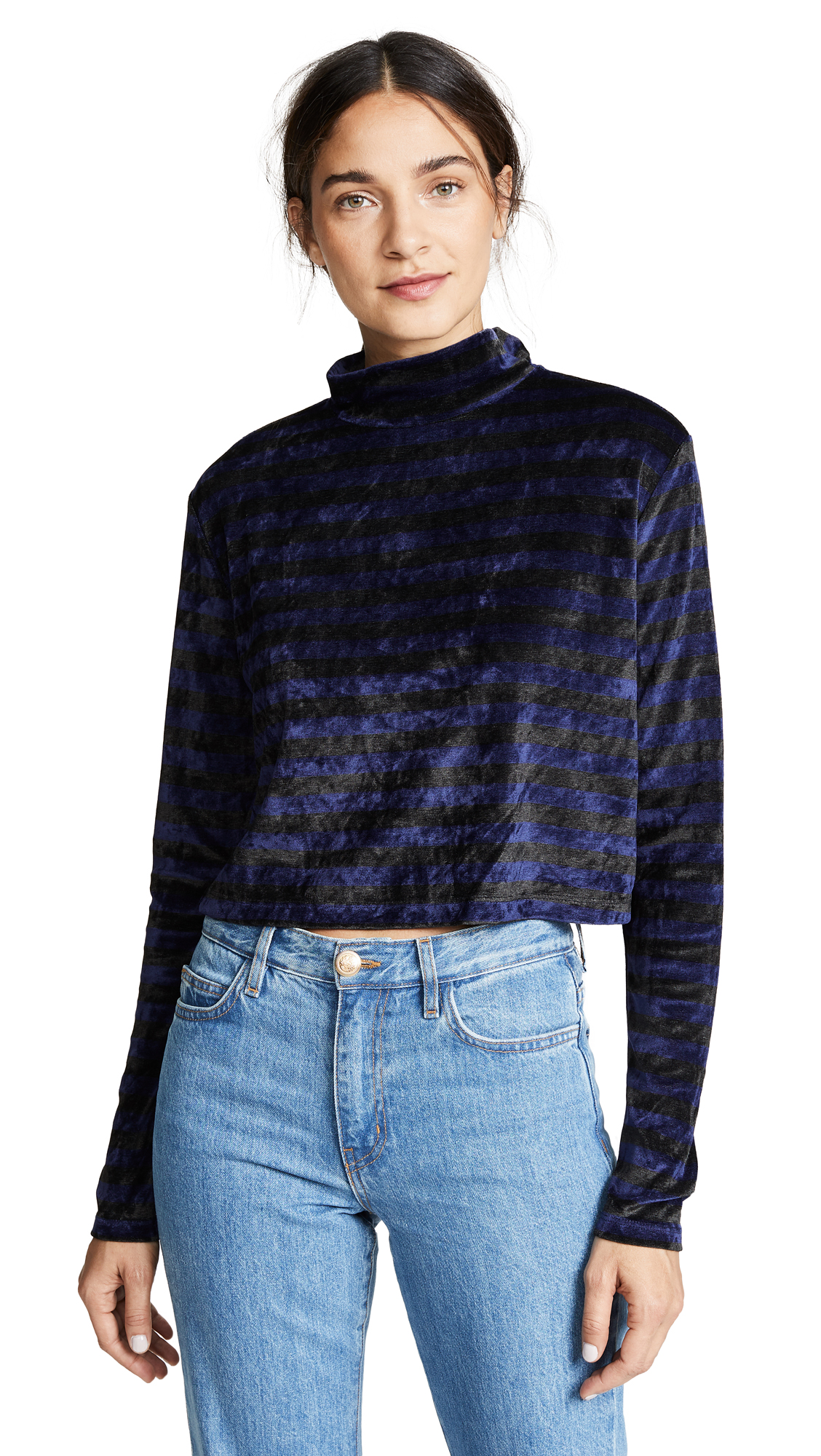 ei8htdreams Striped Velour High Neck Crop Top In Charcoal/Navy