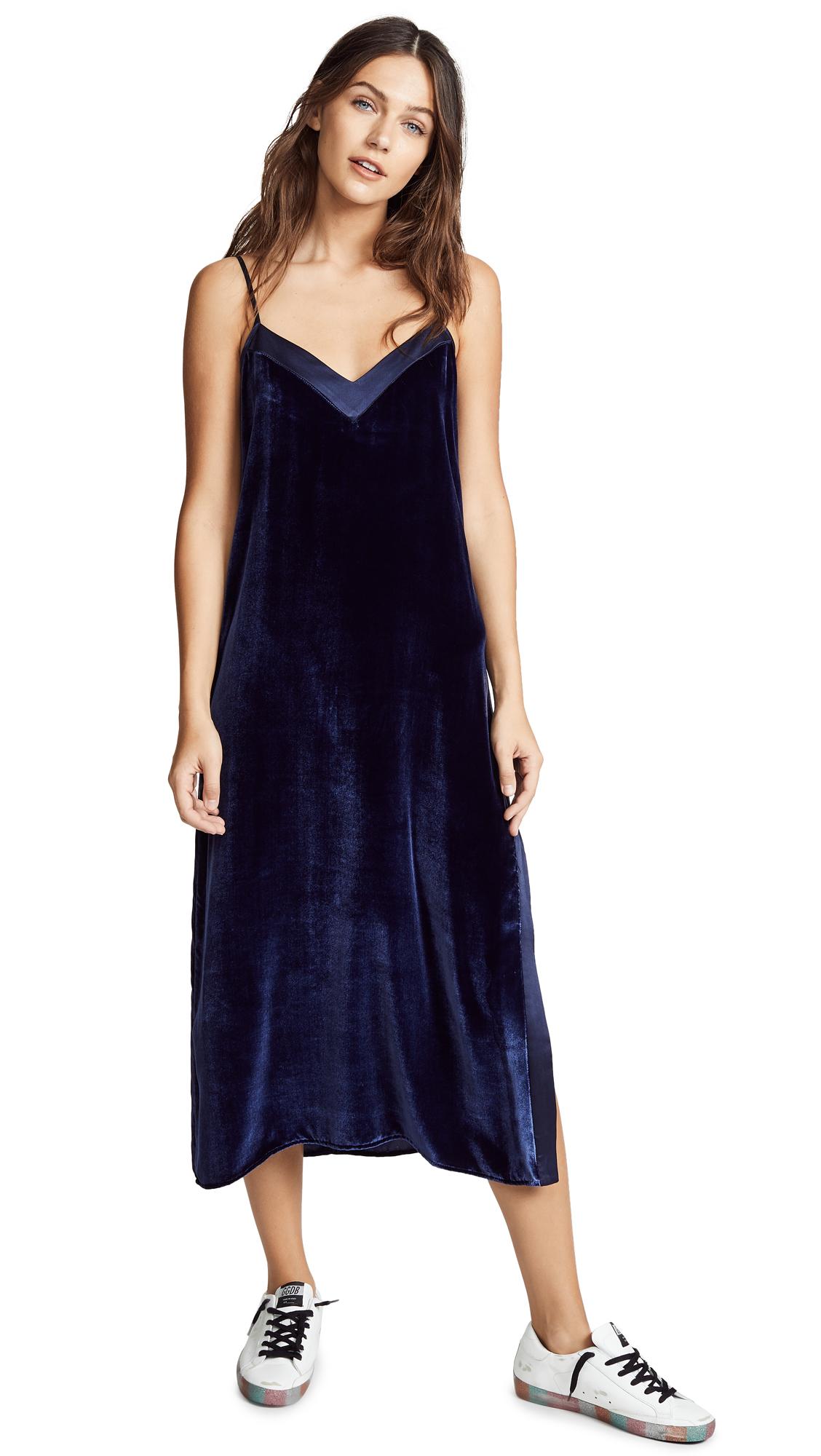 ei8htdreams Silk Contrast Velvet Midi Dress In Navy