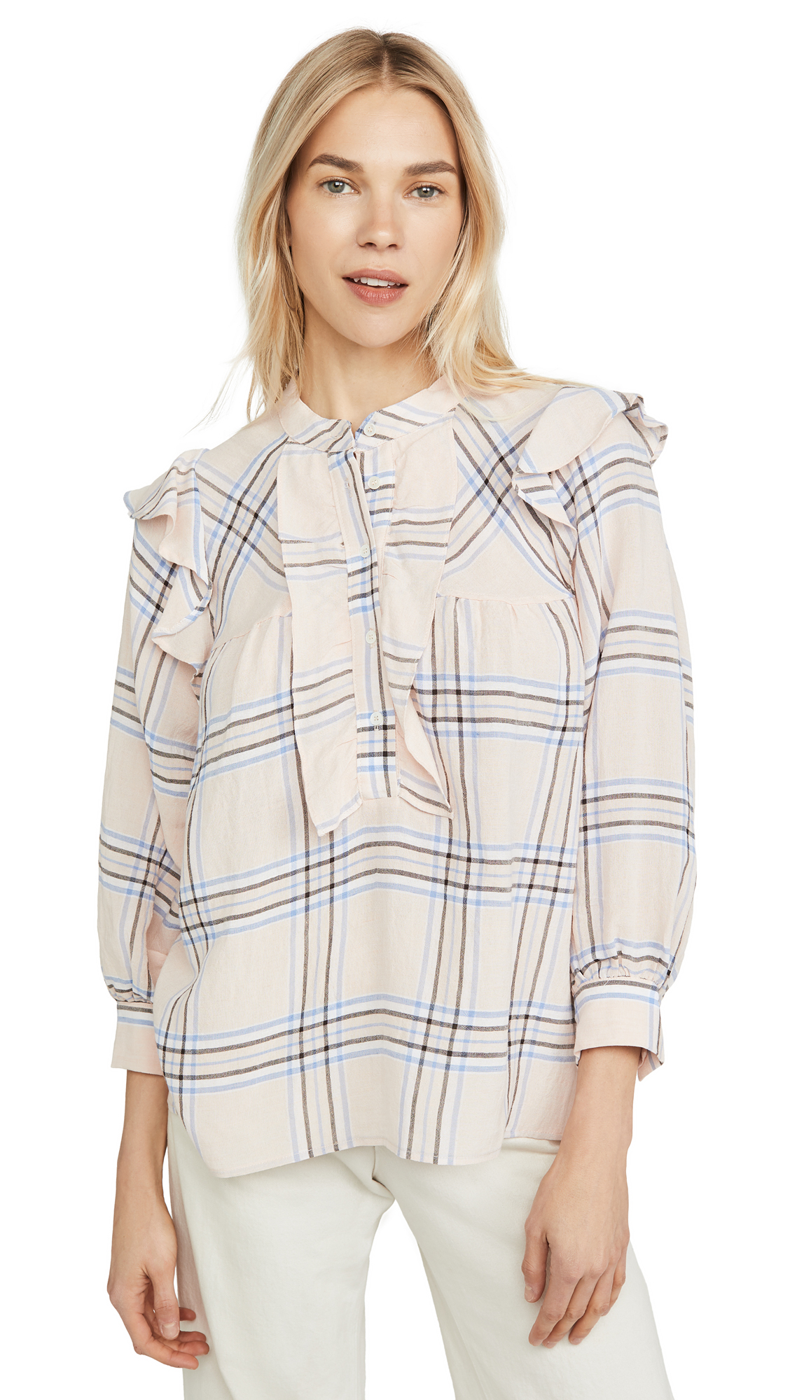 Buy ei8htdreams online - photo of ei8htdreams Plaid Ruffle Blouse