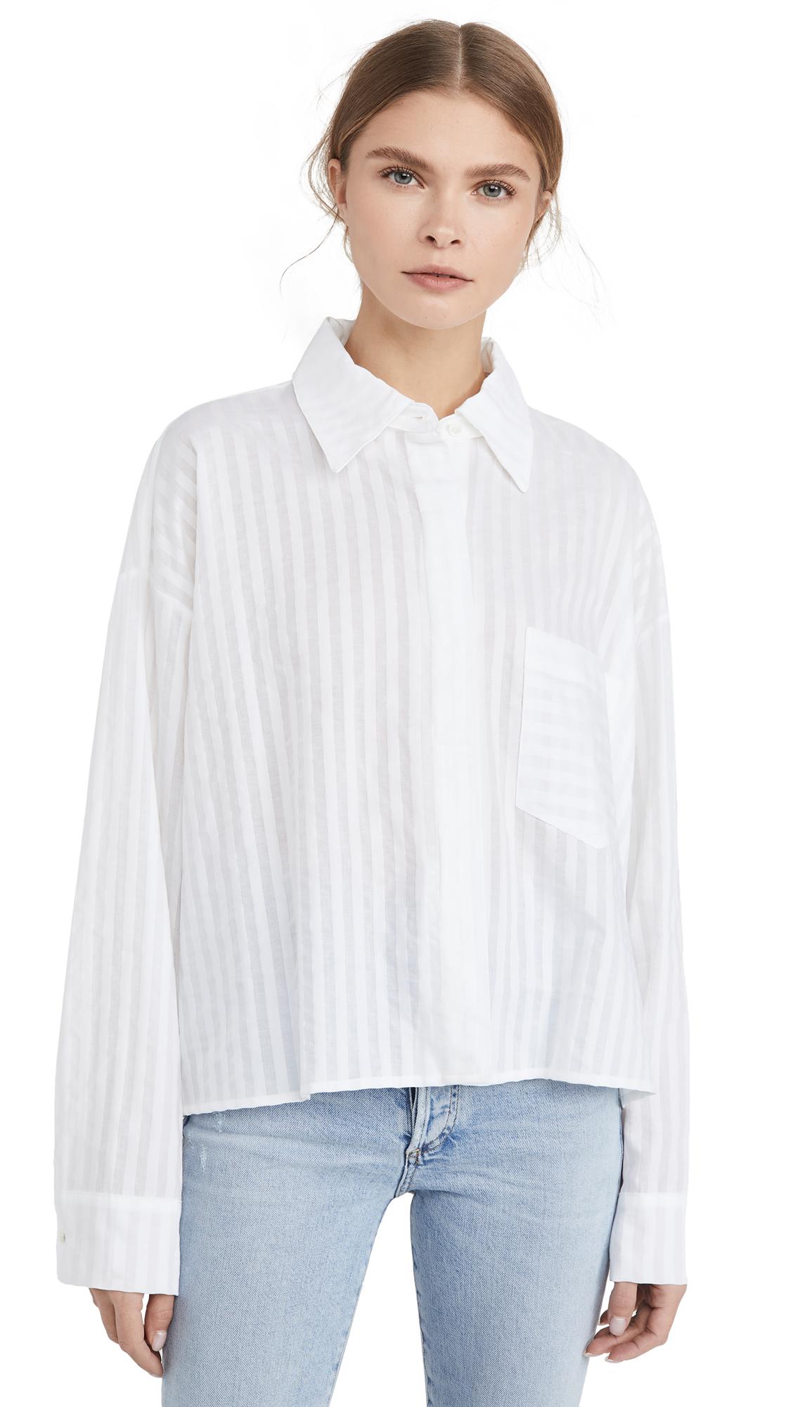 Buy ei8htdreams online - photo of ei8htdreams Alicia Sheer Stripe Oversized Crop Shirt