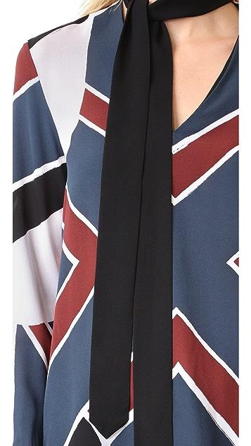 EDUN Colorblocked Neck Tie Blouse