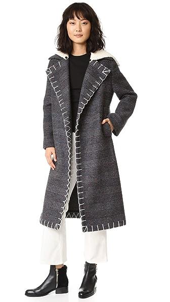 Edun Long Double Breasted Coat - Charcoal at Shopbop