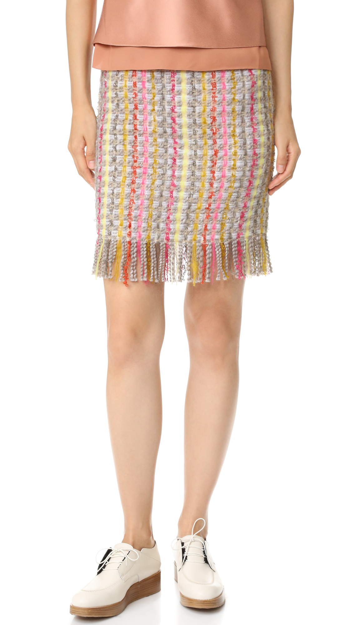 Edun Tweed Fringe Skirt - White Multi at Shopbop
