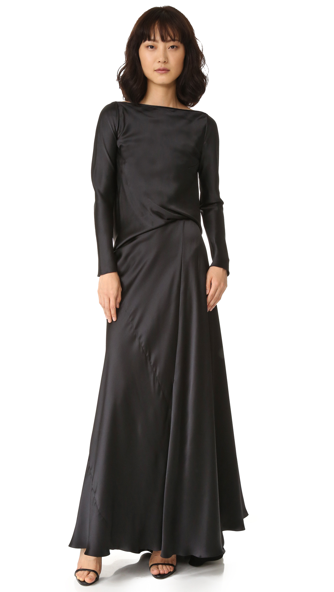 Edun Charmeuse Long Sleeve Draped Back Dress - Black at Shopbop