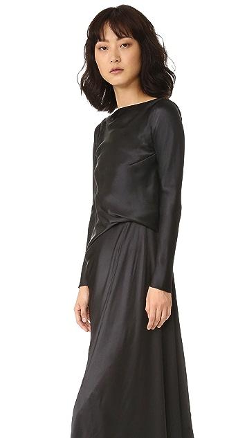 EDUN Charmeuse Long Sleeve Draped Back Dress