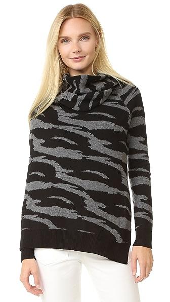 Edun Jacquard Draped Wool Wrap Sweater - Black/Grey at Shopbop