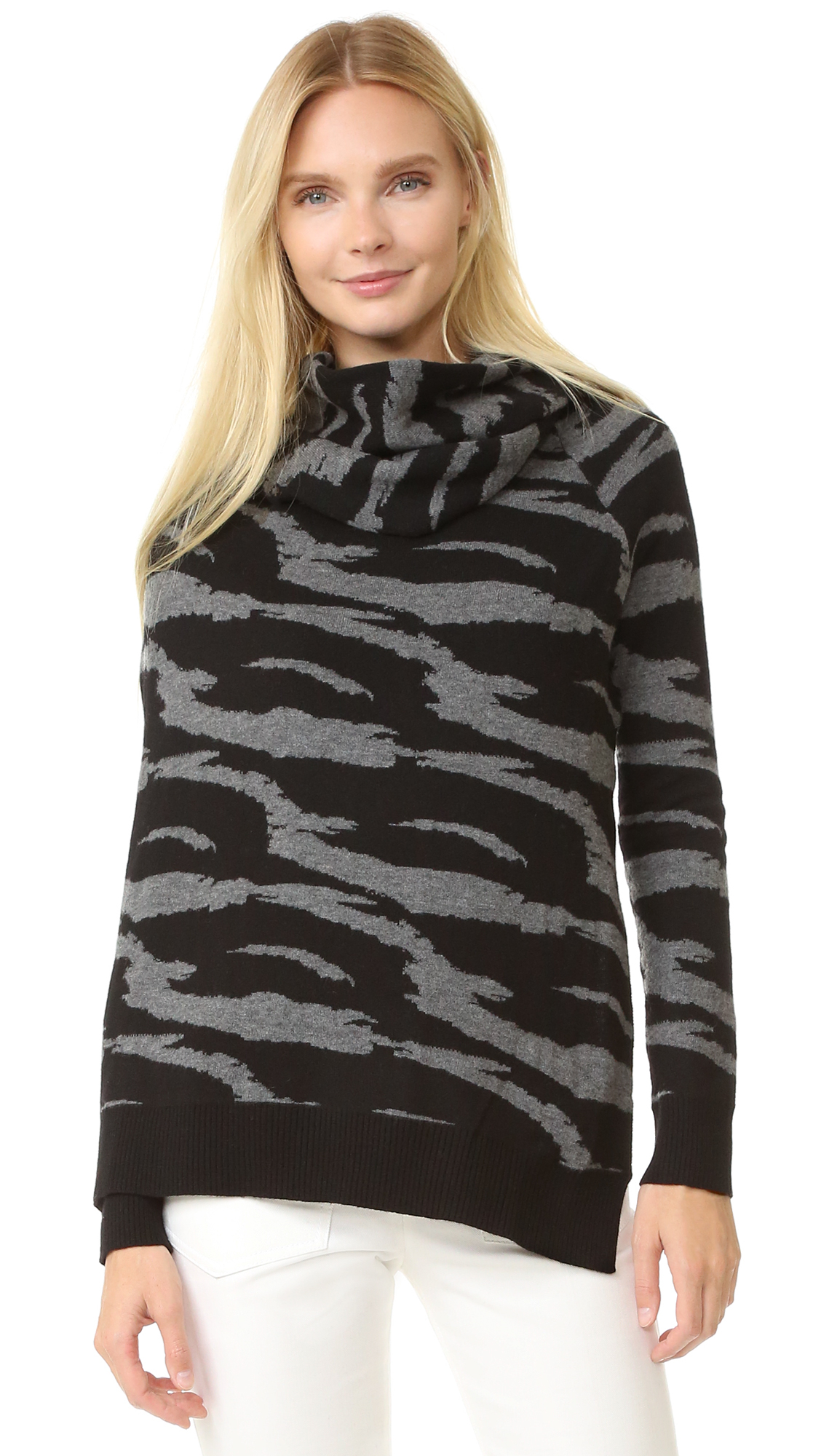 Edun Jacquard Draped Wool Wrap Sweater - Black/Grey at Shopbop