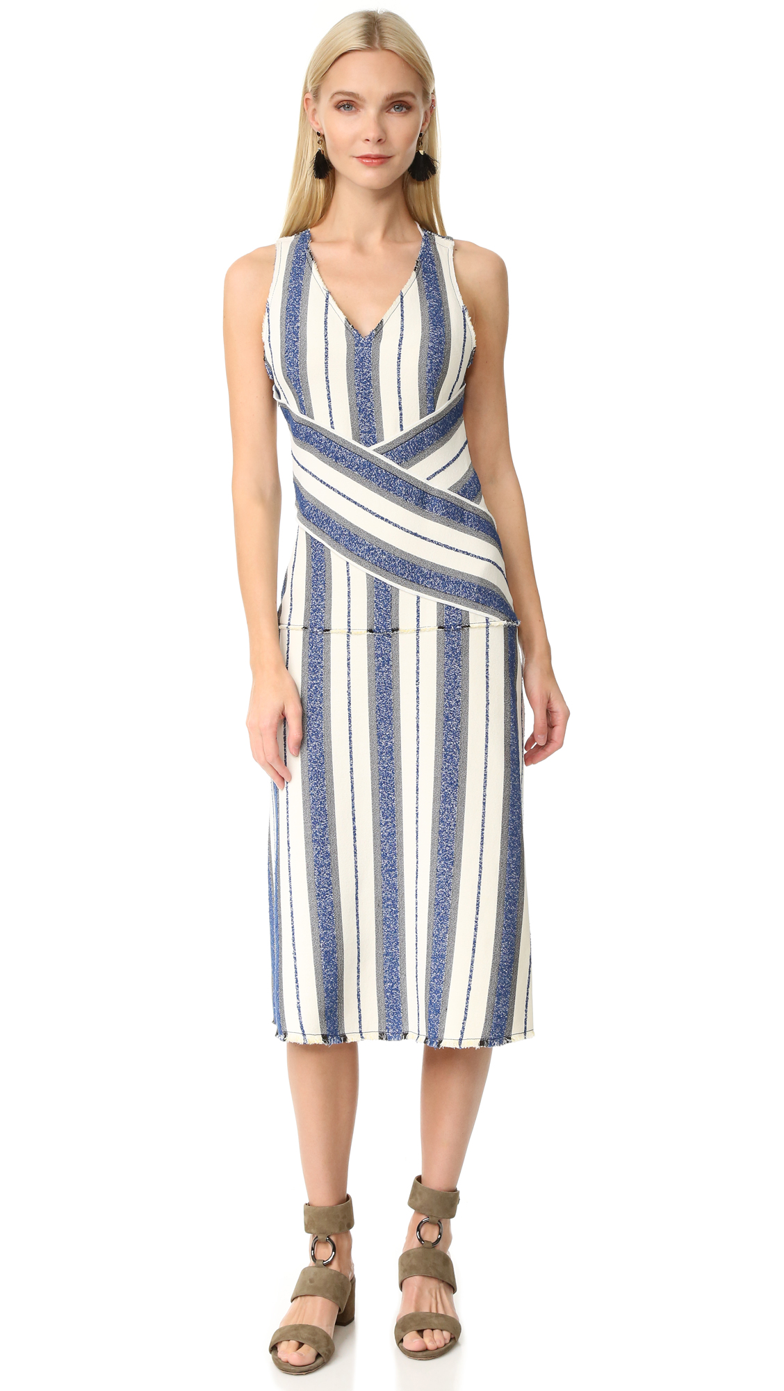 Edun Marine Stripe Dress - Marine Multi at Shopbop