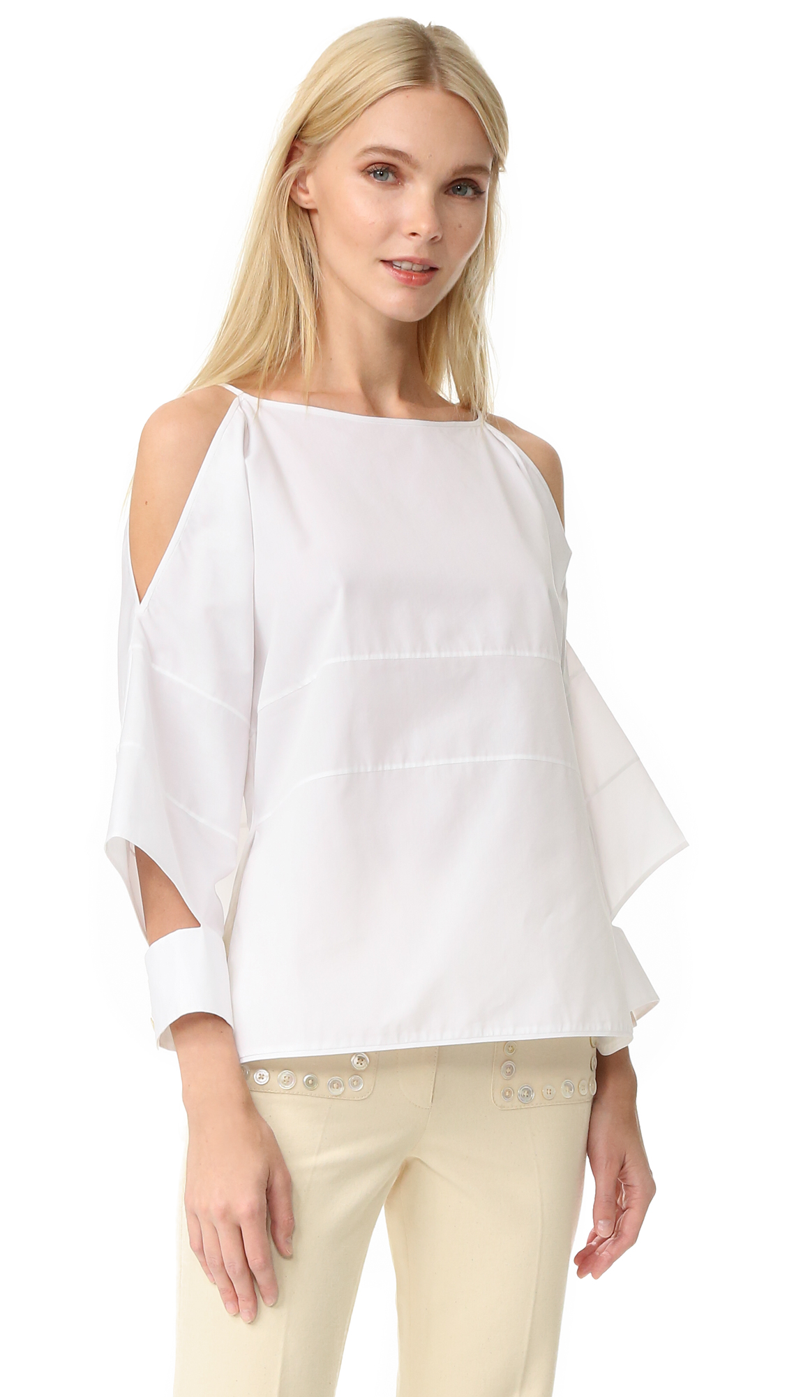 Edun Poplin Block Top - White at Shopbop