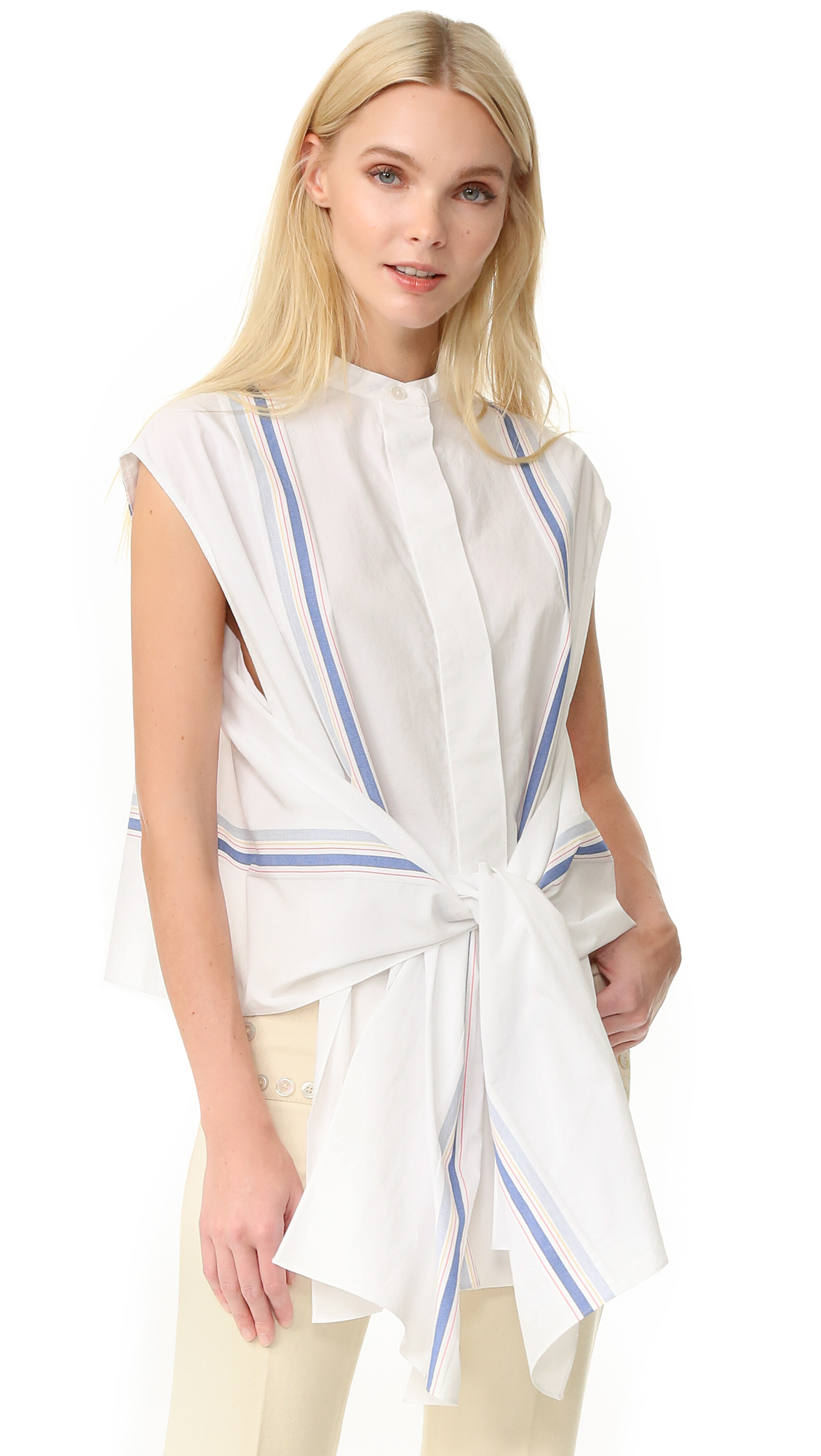 Edun Striped Blouse - White Multi at Shopbop