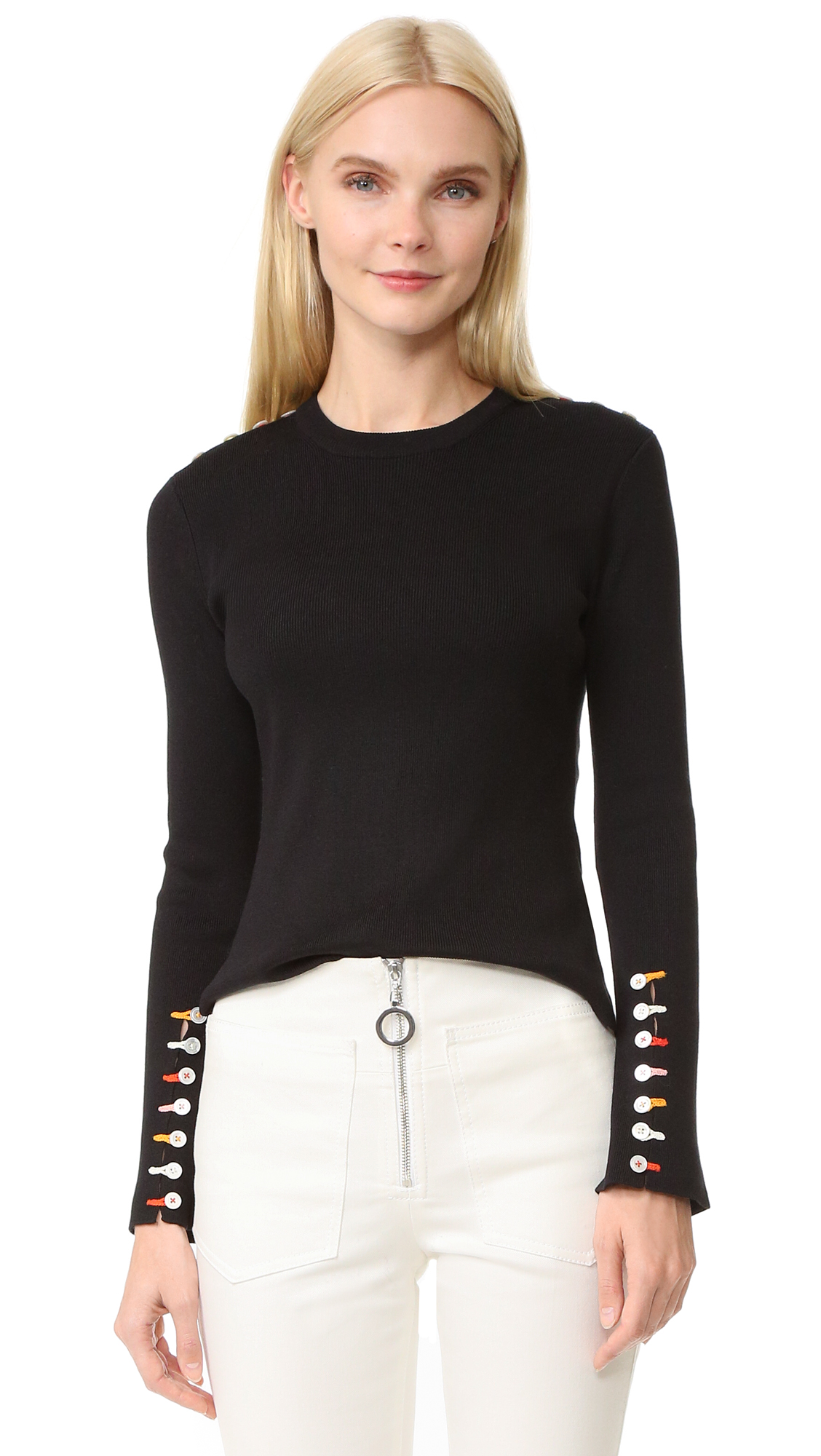 Edun Long Sleeve Fringe Sweater - Black at Shopbop