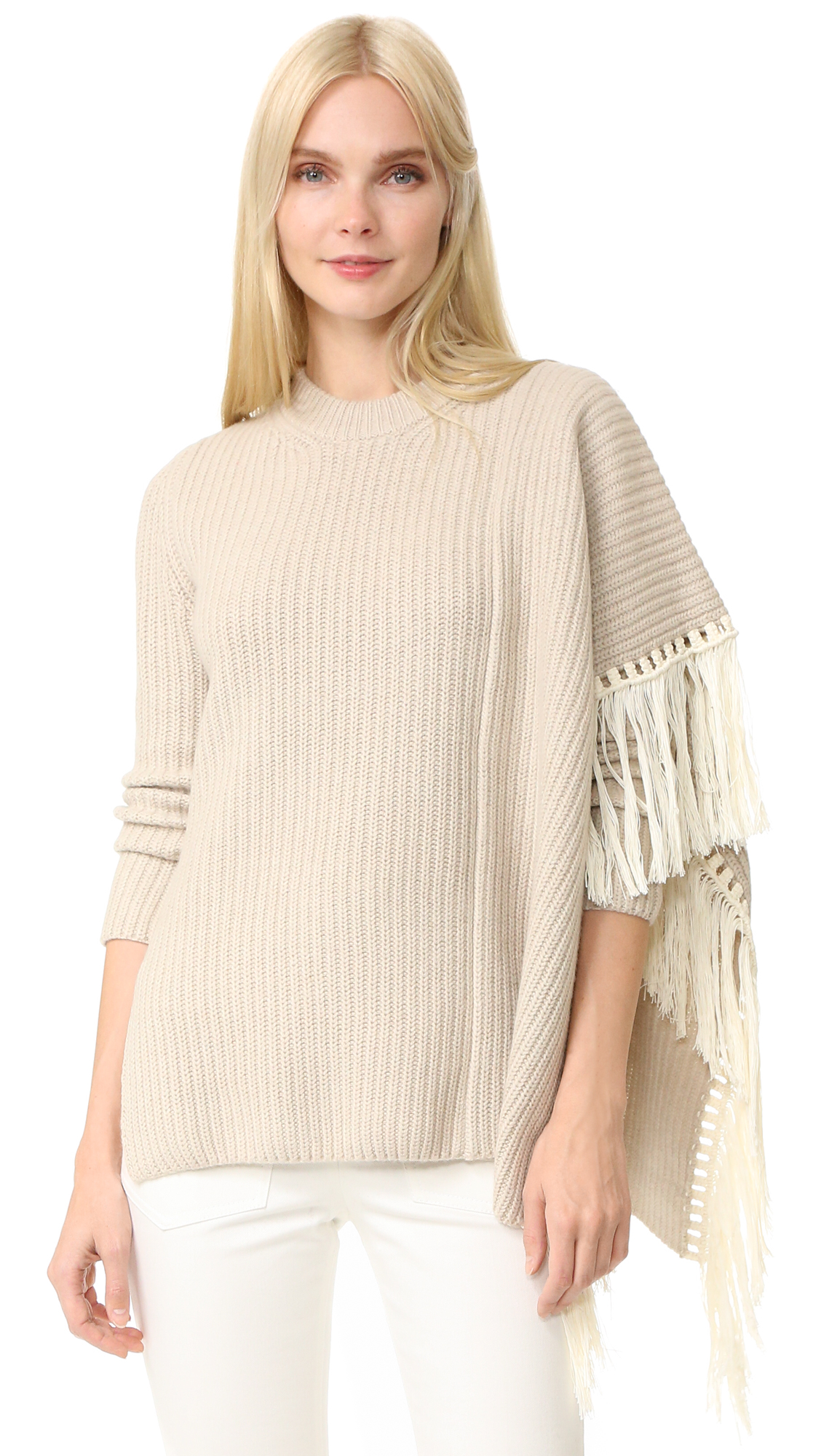 Edun Fringe Oversized Sweater - Ecru at Shopbop