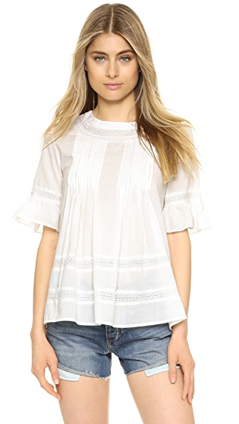 ENGLISH FACTORY Lace Boho Blouse - Off White