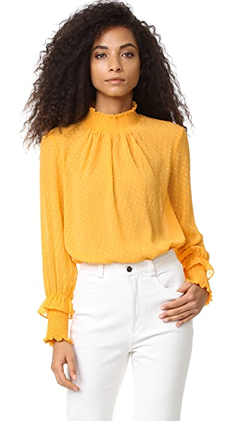 ENGLISH FACTORY Swiss Dot Blouse - Marigold