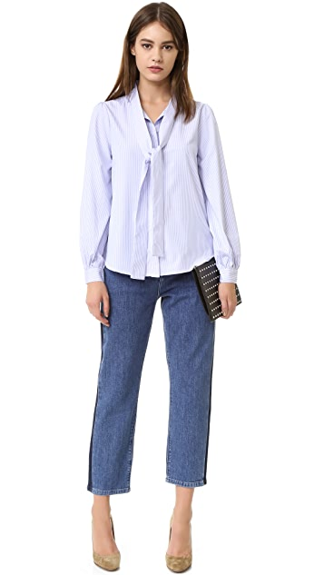 ENGLISH FACTORY Tie Front Blouse