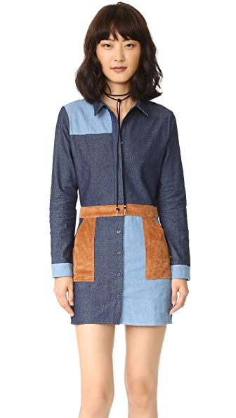 ENGLISH FACTORY Denim Combo Dress - Denim