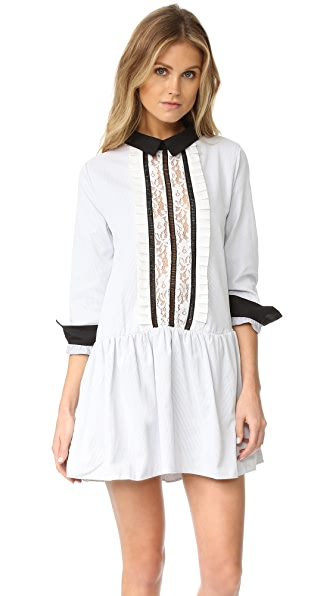 ENGLISH FACTORY Lace Front Shirtdress - Grey Stripe