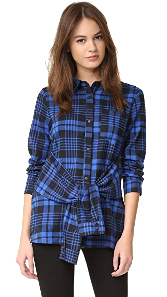 ENGLISH FACTORY Plaid Tie Waist Shirt - Blue