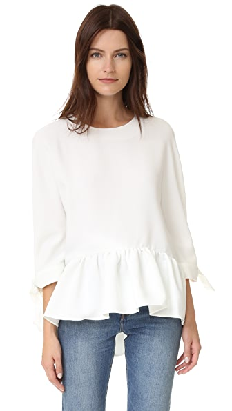 ENGLISH FACTORY Pleat Hem Blouse