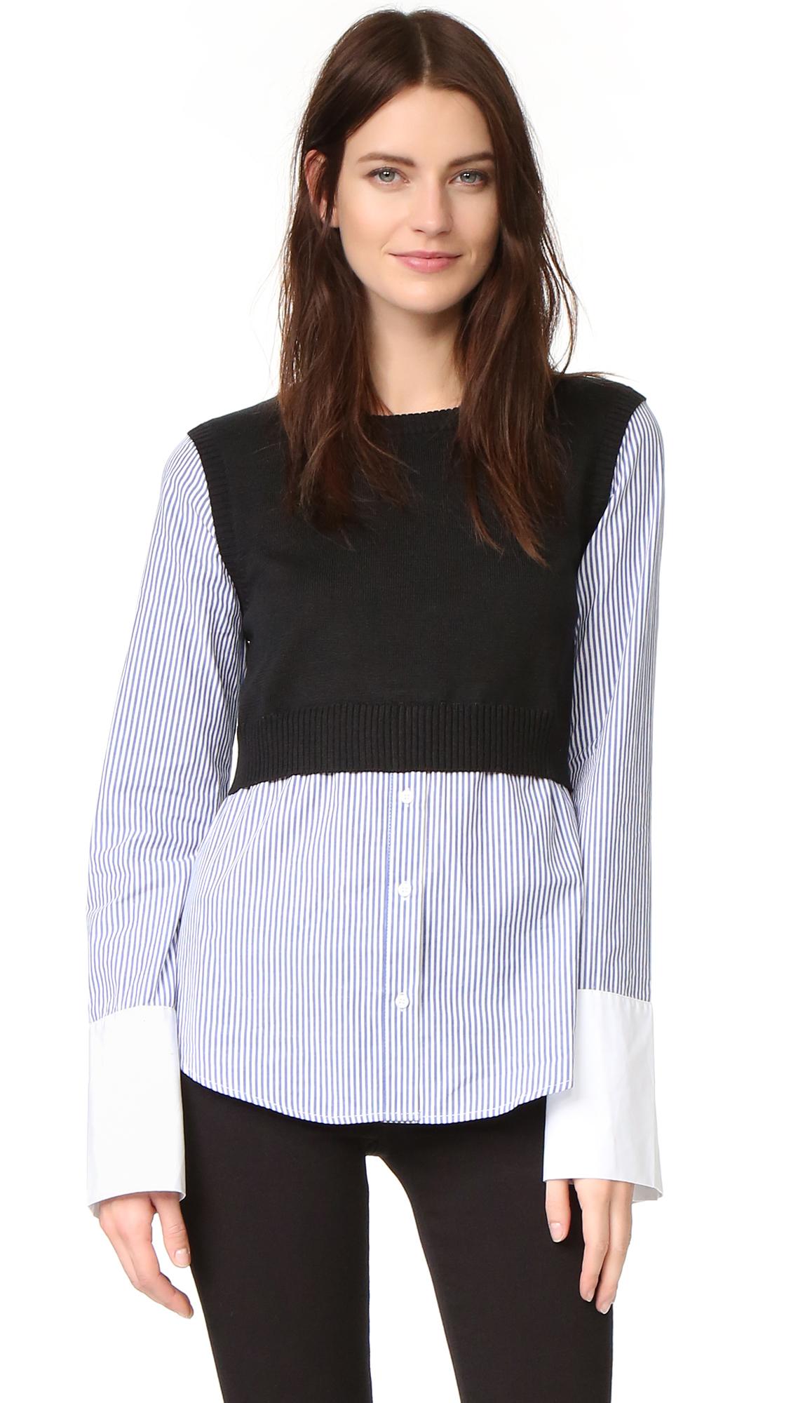 English Factory Combo Sweater - Blue Stripe/Black