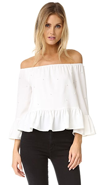 ENGLISH FACTORY Imitation Pearls Off the Shoulder Blouse - White