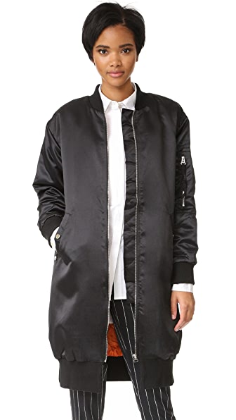ENGLISH FACTORY Oversized Bomber Jacket - Jet Black