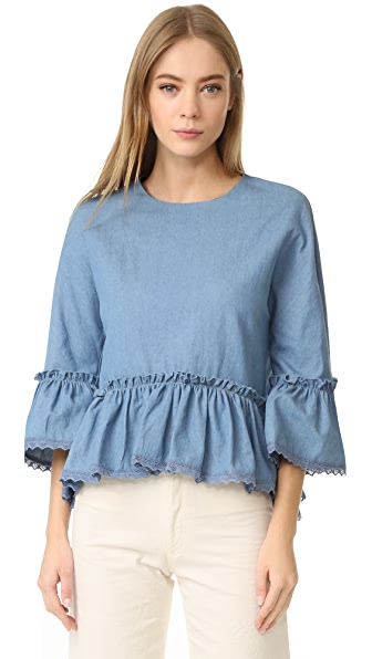 ENGLISH FACTORY Denim Top With Crochet Lace Trim - Denim