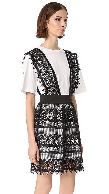ENGLISH FACTORY Lace Detail 2-Fer Shirt Dress