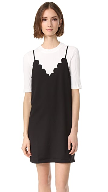 ENGLISH FACTORY Basic 2-Fer Dress with Scallop Detail