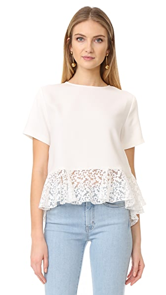 ENGLISH FACTORY Peplum Style Top - Off White