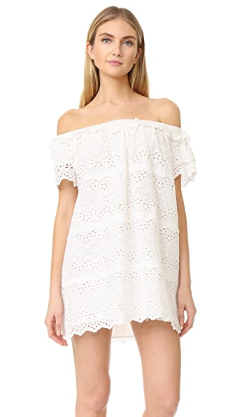 ENGLISH FACTORY Eyelet Off Shoulder Dress - Off White