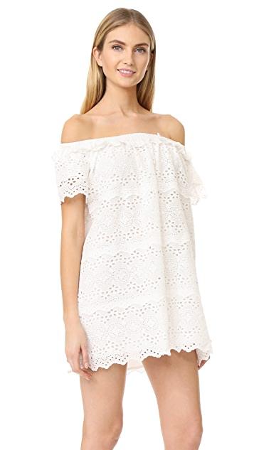ENGLISH FACTORY Eyelet Off Shoulder Dress