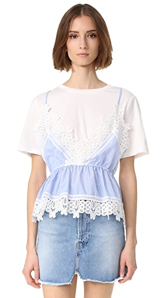 ENGLISH FACTORY Lace Detail Cami Shirt Combo Top - White/Blue