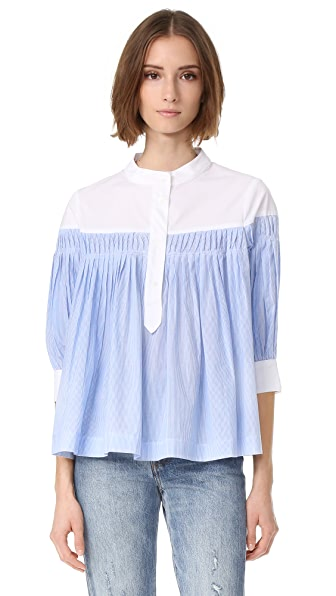 ENGLISH FACTORY Button Down Blouse - Blue Stripes