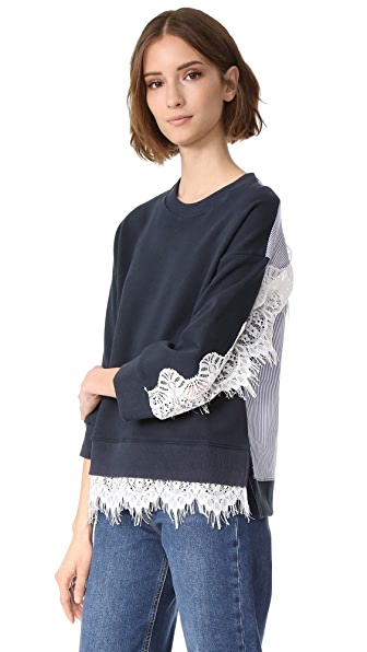 ENGLISH FACTORY Fleece with Stripe & Lace Detail Top - Dark Navy