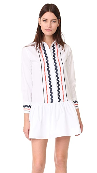 ENGLISH FACTORY Collared Drop Waist Dress - White Multi