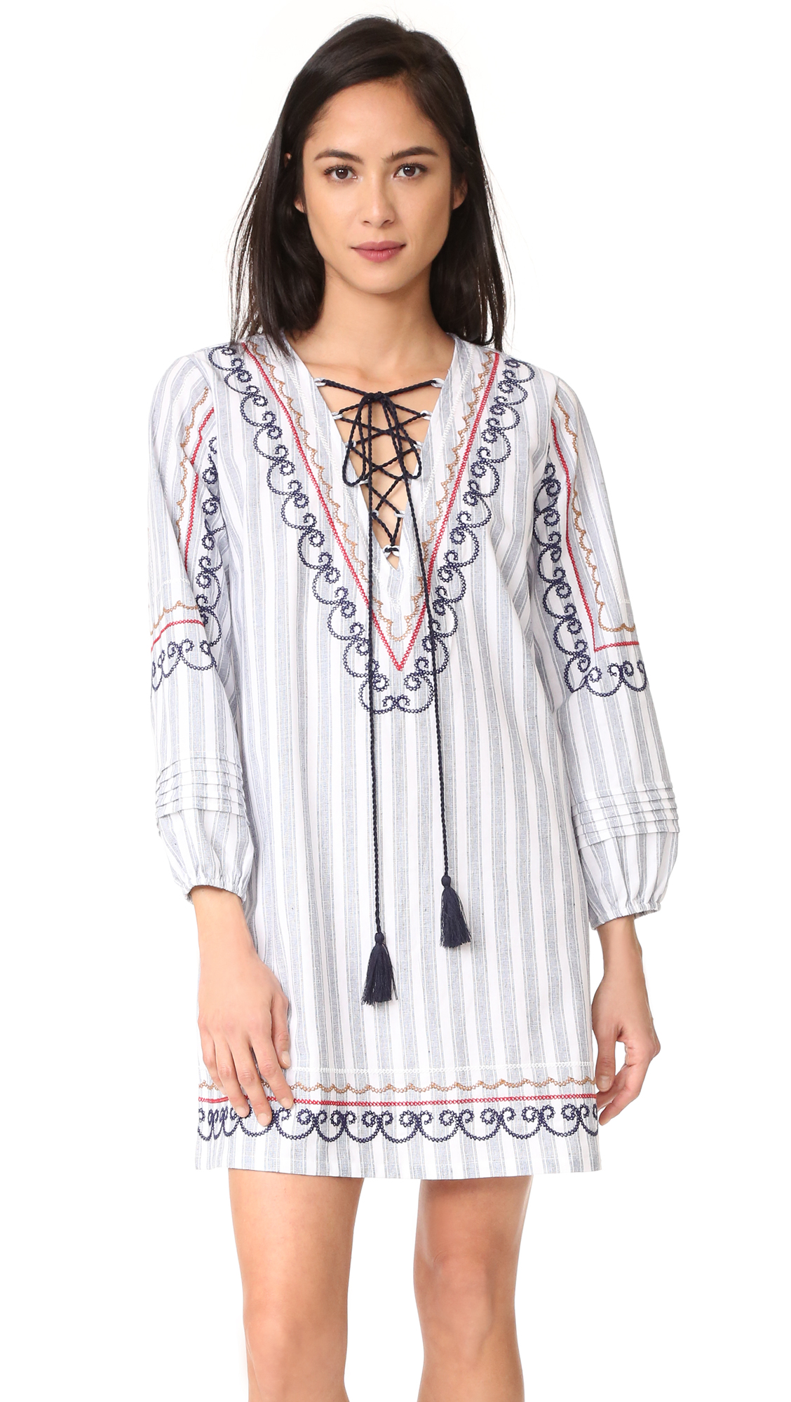 ENGLISH FACTORY Multicolor Embroidered Smock Dress