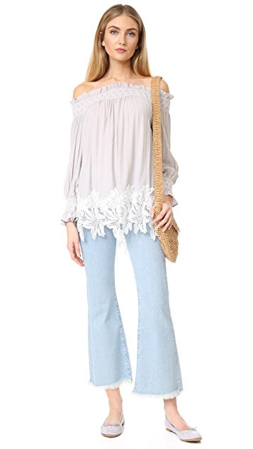 ENGLISH FACTORY Off Shoulder Smock Top with Lace