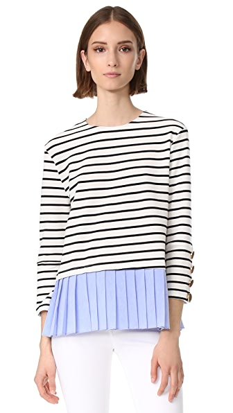 ENGLISH FACTORY Stripe Knit Top with Ruffle Detail - Black/Stripe