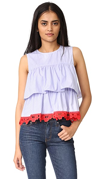 ENGLISH FACTORY Sleeveless 2 Tier Ruffle Top