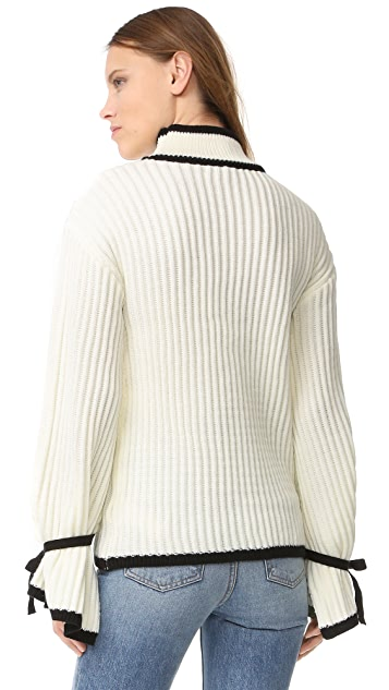ENGLISH FACTORY Knit Down Sweater With Tie Cuffs