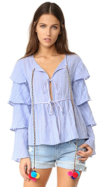 ENGLISH FACTORY Ruffled Jacket Top With Pom Poms