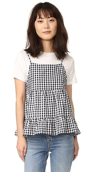 ENGLISH FACTORY T-Shirt Layered Top - Black Gingham