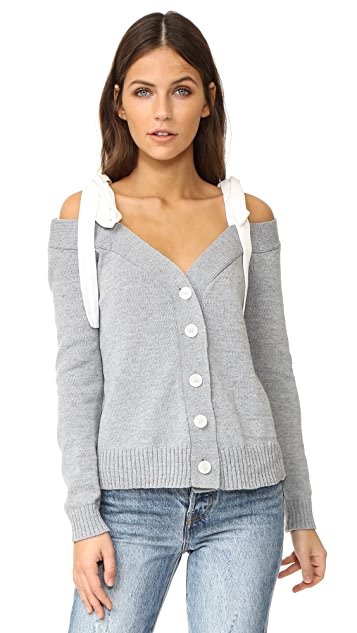 ENGLISH FACTORY Off Shoulder Knit Cardigan With Tie