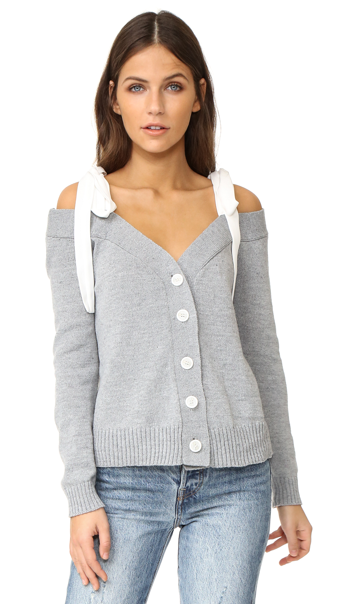 ENGLISH FACTORY Off Shoulder Knit Cardigan With Tie - Grey/Off White