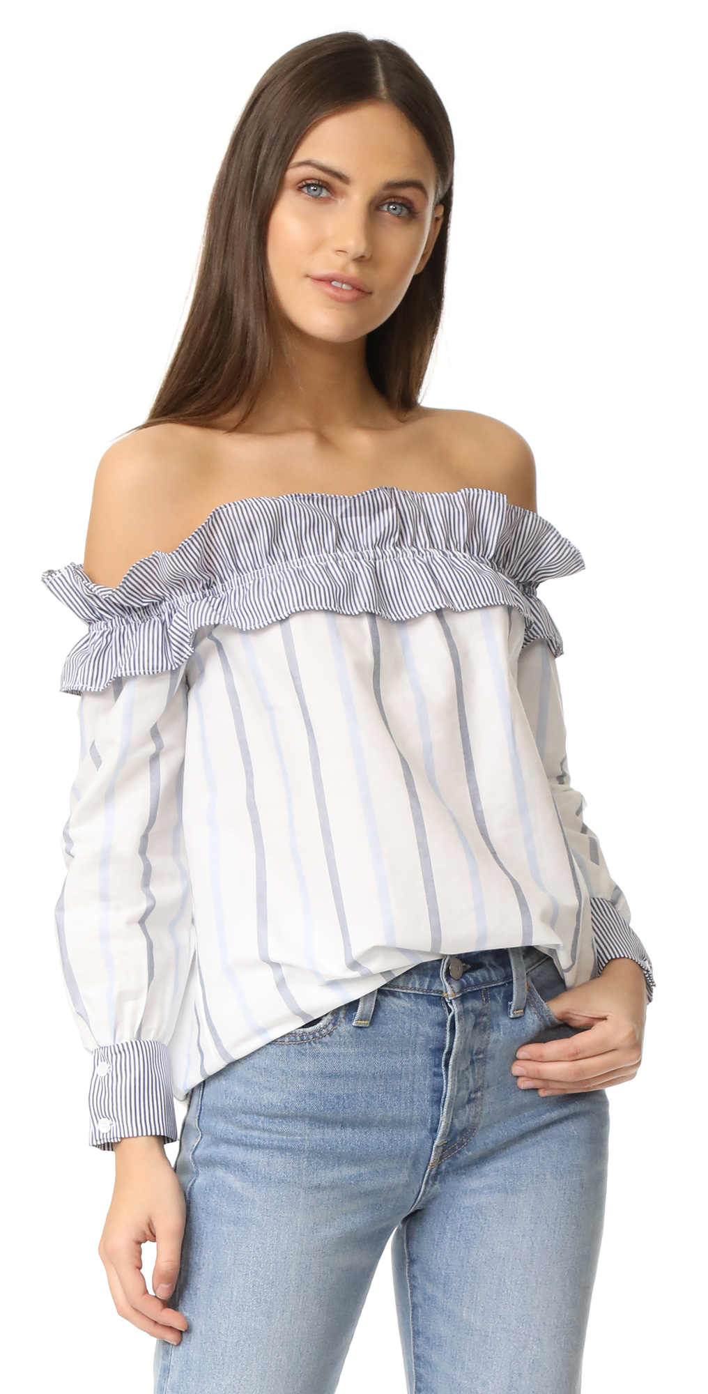 Stripe Long Sleeve Off Shoulder Top ENGLISH FACTORY